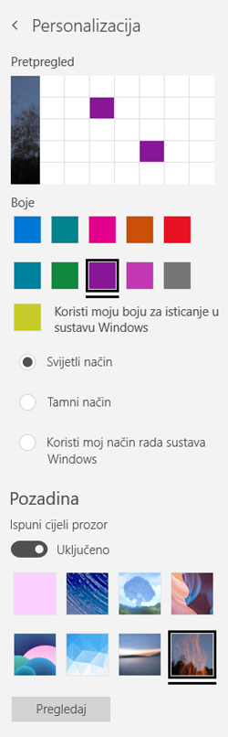 Odaberite sliku pozadine i prilagođene boje za aplikacije