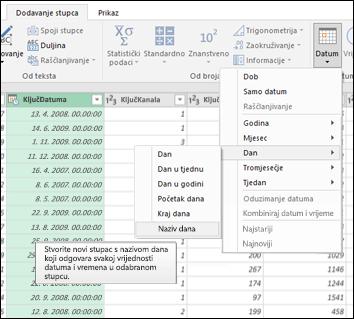 Power Query – izdvajanje naziva tjedna, dana ili mjeseca iz stupca Datum/vrijeme u uređivaču upita