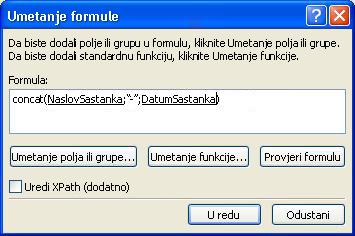 Dovršeni formula u dijaloškom okviru Umetanje formule koji stvara naziv obrasca