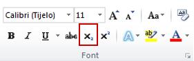 naredba indeksa u grupi fontova