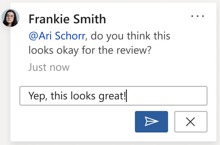 Slika komentara u kojem se prikazuje gumb pošta. Gumb pošta nalazi se u donjem desnom kutu kartice komentara prilikom izrade novog komentara ili odgovora na komentar.