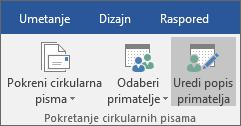 Kao dio značajke cirkularnog pisma u programu Word, na kartici Skupna pisma u grupi Pokretanje cirkularnih pisama odaberite Uredi popis primatelja.