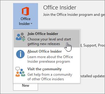 Gumb Uključivanje u Office Insider