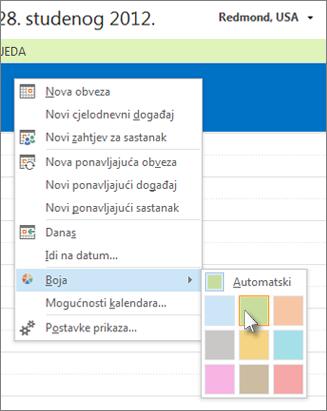 Desnom tipkom miša kliknite kalendar, a zatim Boja
