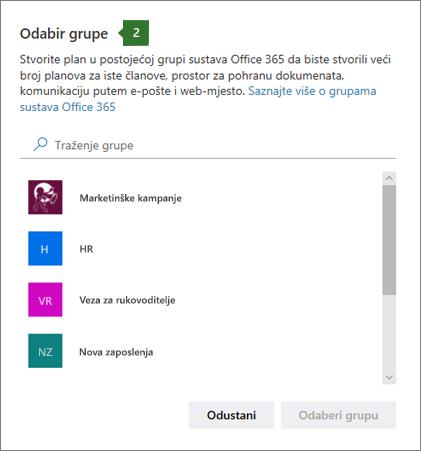 Snimka zaslona za odabir dijaloški okvir grupa