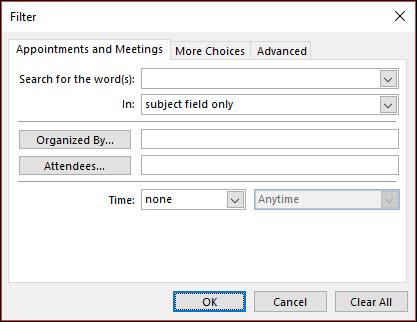 Odaberite iz raznih obveze ili sastanka polja.