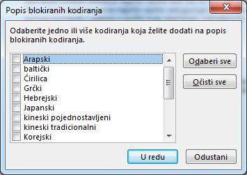 dijaloški okvir popis blokiranih kodiranja