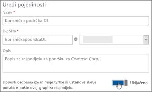 Snimka zaslona: Uključite Uključivanje i isključivanje dopustili vanjski članovi da biste poslali na dl