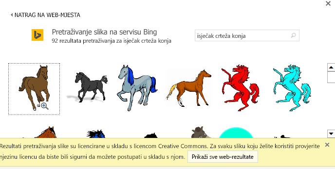 """Pretraživanjem """"isječaka crteža konja"""" nudi razne slike s licencom Creative Commons."""