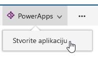 Nakon PowerApps kliknete stvorite aplikaciju.