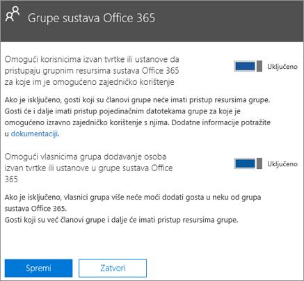 Omogući osobama izvan tvrtke ili ustanove pristup grupama i resursima sustava Office 365