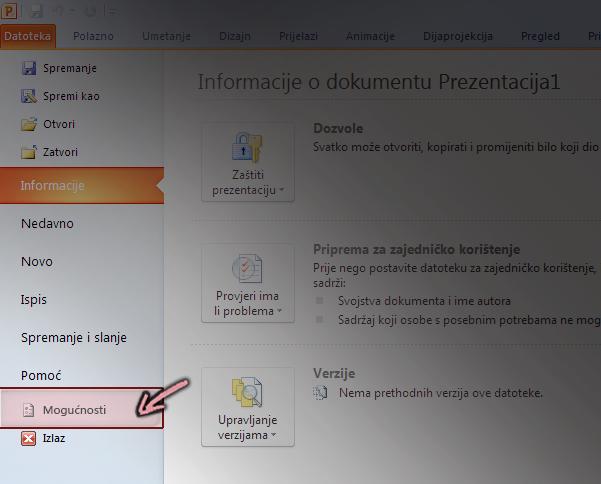Na kartici datoteka na vrpci u programu PowerPoint 2010 kliknite mogućnosti