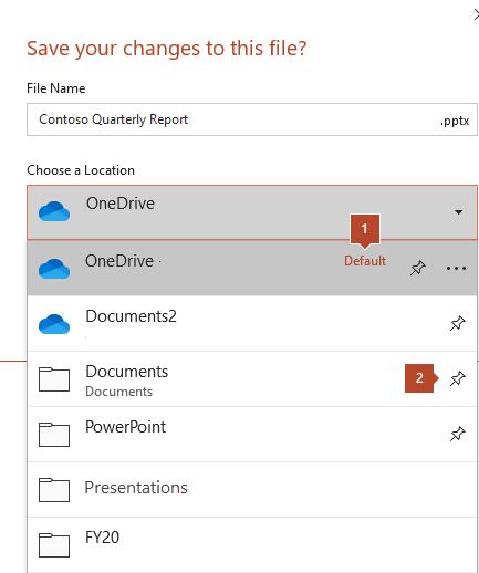 Dijaloški okvir Spremanje u sustavu Microsoft Office 365 koji prikazuje popis mapa.