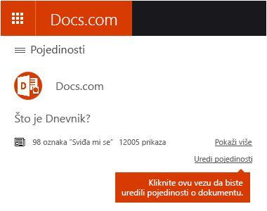 Mogućnost pojedinosti uređivanja na servisu Docs.com