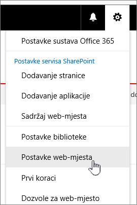Postavke web-mjesta iz biblioteke dokumenata