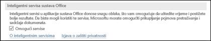 Idite na stavku Datoteka > Mogućnosti > Općenito da bi se omogućili ili onemogućili inteligentni servisi