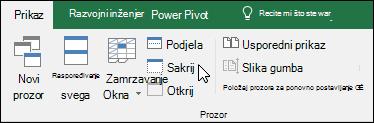 Sakrivanje ili prikaz radne knjige iz prikaza > Windows > Hide/Otkrij