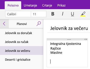Snimka zaslona s prikazom spremnika bilješki na stranici u programu OneNote