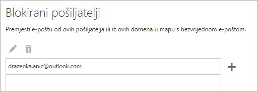 Snimka zaslona okvira Blokirani pošiljatelji