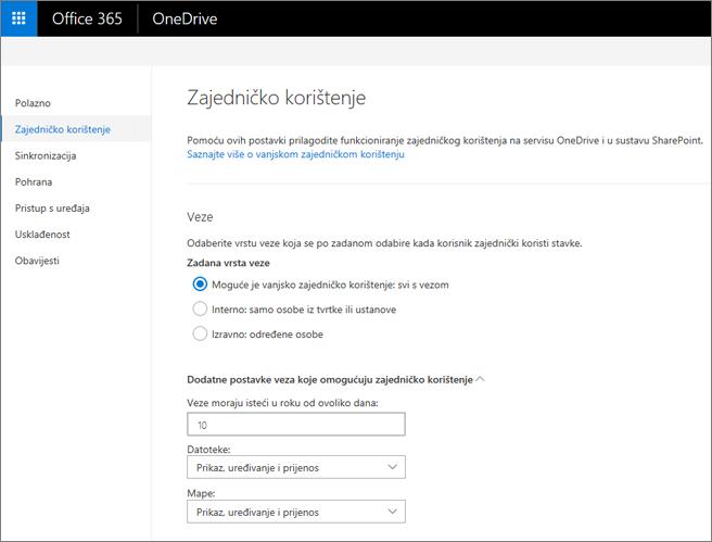 Postavke veze na stranici zajedničko korištenje centra za administratore servisa OneDrive