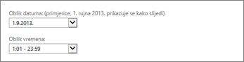 Postavke oblika datuma i vremena za Outlook Web App