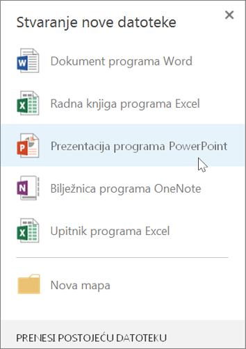 Stvaranje nove prezentacije programa PowerPoint