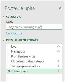 Power Query > uređivač upita > postavke upita