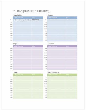 Tjedni kalendar obaveza (Word)