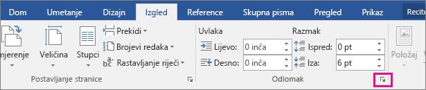 Strelica za otvaranje dijaloškog okvira Odlomak istaknuta je na kartici Raspored.