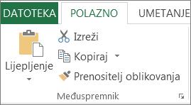 Gumbi za kopiranje i lijepljenje na kartici Polazno