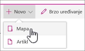 + Novi padajući izbornik s mapom istaknuta