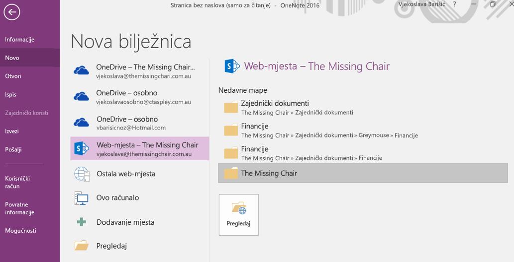 Sučelje za odabir mape za novu bilježnicu u programu OneNote za Windows 2016