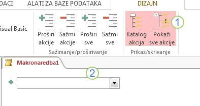 Kartica dizajna makronaredbi u programu Access 2010.