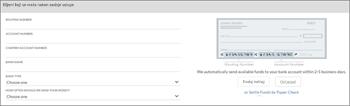 Snimka zaslona: Povezati vašeg bankovnog računa rezervacija unosom banke ime, usmjeravanje i račun brojeva