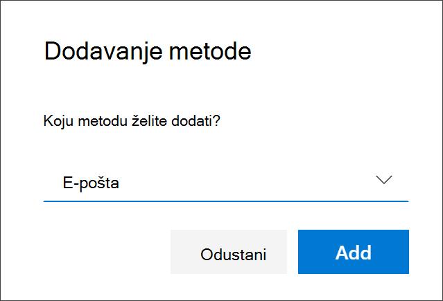 Okvir Dodaj metodu s odabranom e-poštom