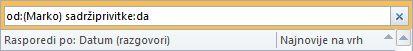 Primjer trenutnog pretraživanja s više kriterija pretraživanja