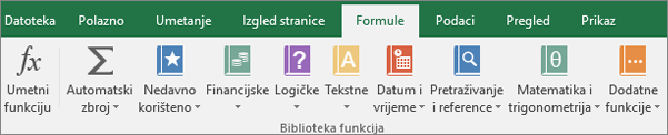 Kartica Formule programa Excel na vrpci