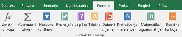 Kartica Formule na vrpci u programu Excel