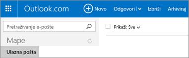 Ovako izgleda vrpca kada koristite Outlook.com ili Hotmail.com