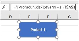 Oblik odabran da biste prikazali naziv veze u traci formule
