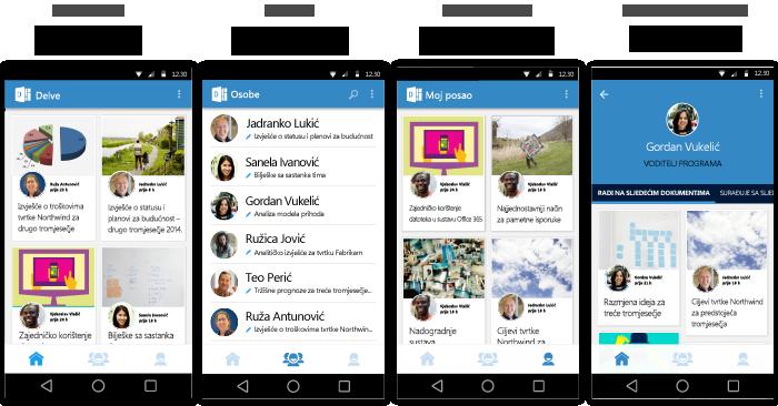 Zasloni aplikacije Delve za Android
