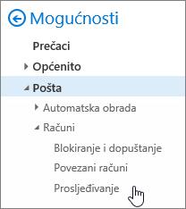 Snimke zaslona prikazuje mogućnost prosljeđivanja odabran u mogućnostima za e-poštu.