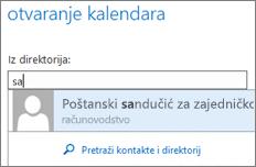 Dijaloški okvir Otvaranje kalendara u web-aplikaciji Outlook Web App