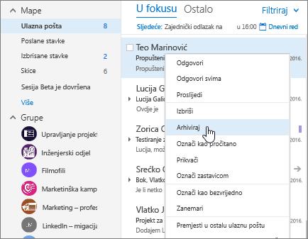Snimka zaslona s prikazom ulazne pošte i klikom desne tipke miša na poruku i odabranom mogućnošću Arhiva.