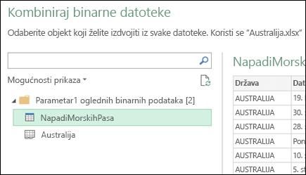 Kombiniranje dijaloški binarne datoteke prikazuje dostupne radni listovi programa Excel da biste odabrali primarni konsolidacije cilj