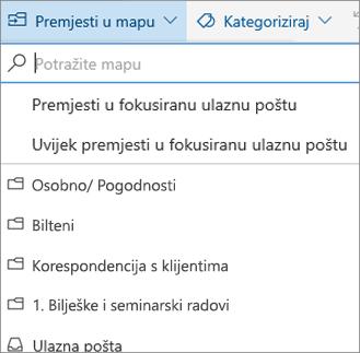Fokusirana ulazna pošta u programu Outlook na webu