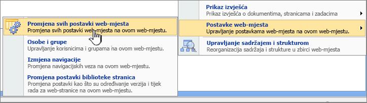 Izmjena sve mogućnost postavke web-mjesta u odjeljku postavke web-mjesta