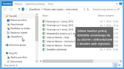 Pomoću eksplorera za datoteke pomaknite se do sinkronizirane datoteke na računalu. Nalazi se u mapi sustava SharePoint.
