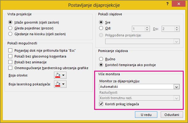 Mogućnosti monitora u dijaloškom okviru Postavljanje dijaprojekcije