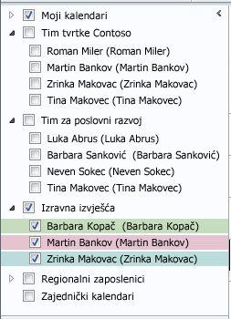 Grupe kalendara u navigacijskom oknu